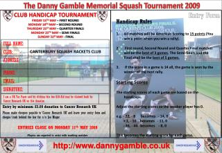 The Danny Gamble Memorial Squash Tournament 2009