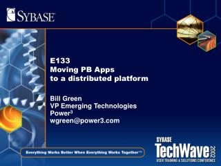 E133 Moving PB Apps  to a distributed platform