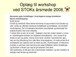 Oplæg til workshop  ved STOKs årsmøde 2008