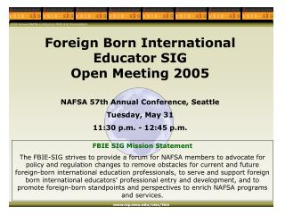 2004 Annual NAFSA Conference FBIE-SIG Presentation