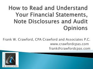 How to Read and Understand Your Financial Statements, Note Disclosures and Audit  Opinions