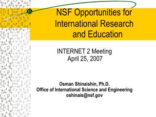 NSF Opportunities for International Research