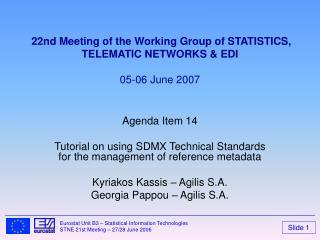 22nd Meeting of the Working Group of STATISTICS,  TELEMATIC NETWORKS & EDI  05-06 June 2007
