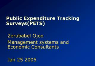 Public Expenditure Tracking Surveys(PETS)