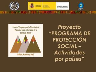 """Proyecto """"PROGRAMA DE PROTECCIÓN SOCIAL – Actividades  por países"""""""