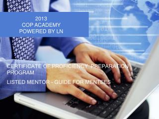CERTIFICATE OF PROFICIENCY  PREPARATION PROGRAM