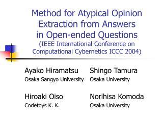 Ayako HiramatsuShingo Tamura Osaka Sangyo UniversityOsaka University
