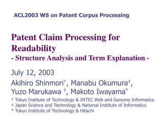 Patent Claim Processing for Readability  - Structure Analysis and Term Explanation -