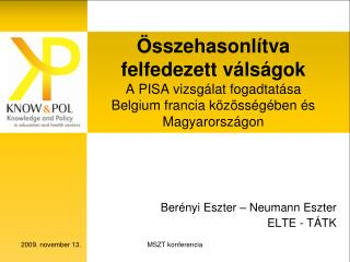 Berényi Eszter – Neumann Eszter ELTE - TÁTK