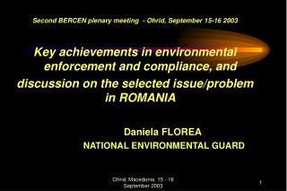 Second BERCEN plenary meeting  - Ohrid, September 15-16 2003