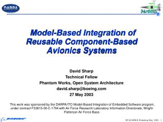 Model-Based Integration of Reusable Component-Based Avionics Systems
