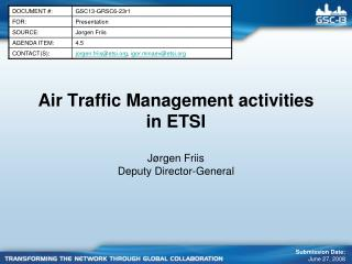 Air Traffic Management activities in ETSI