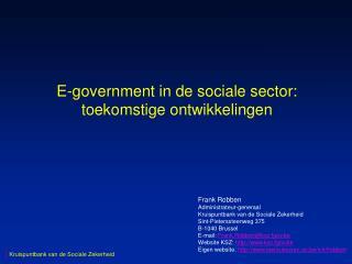 E-government in de sociale sector: toekomstige ontwikkelingen