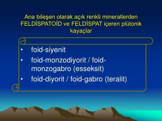 Ana bileşen olarak açık renkli minerallerden FELDİSPATOİD ve FELDİSPAT içeren plütonik kayaçlar