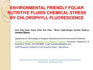 environmental  friendLy  foliar nutritive fluids chemical stress by chlorophyll fluorescence