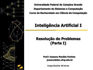 Inteligência Artificial I Resolução de Problemas    (Parte I) Prof. a  Joseana Macêdo Fechine