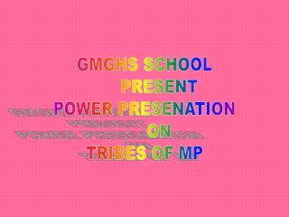 GMGHS SCHOOL       PRESENT POWER PRESENATION        ON  TRIBES OF MP