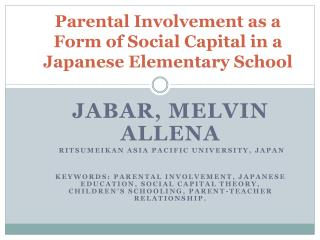 Parental Involvement as a Form of Social Capital in a Japanese Elementary School