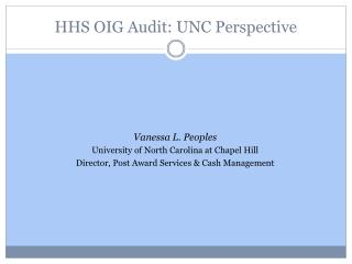 HHS  OIG Audit: UNC Perspective