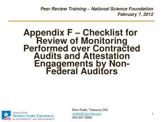 Peer Review Training – National Science Foundation  February 7, 2012