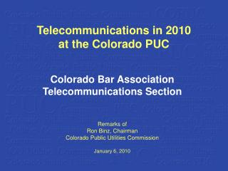 Telecommunications in 2010 at the Colorado PUC