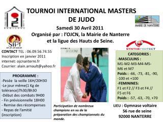 TOURNOI INTERNATIONAL MASTERS  DE JUDO