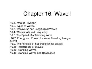 Chapter 16. Wave I