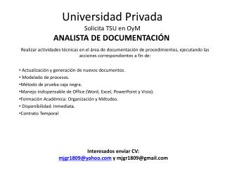 Universidad Privada Solicita TSU en OyM