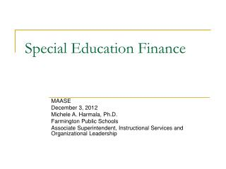 Special Education Finance