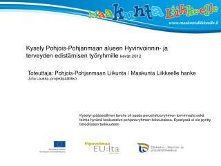 Kysely Pohjois-Pohjanmaan alueen Hyvinvoinnin- ja terveyden edistämisen työryhmille  kevät 2012