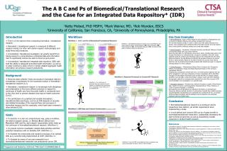 The A B C and Ps of Biomedical/Translational Research