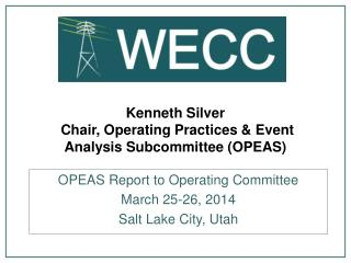 Kenneth Silver  Chair, Operating Practices & Event Analysis Subcommittee (OPEAS)