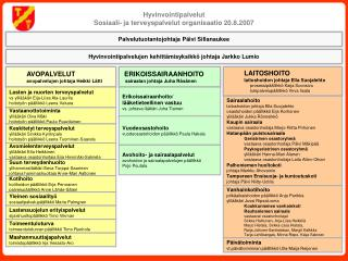 Hyvinvointipalvelut Sosiaali- ja terveyspalvelut organisaatio 20.8.2007