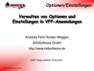 Verwalten von Optionen und Einstellungen in VFP-Anwendungen