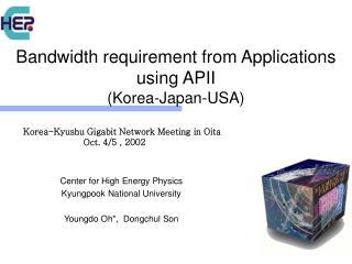 Bandwidth requirement from Applications using APII  (Korea-Japan-USA)