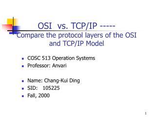 OSI  vs. TCP