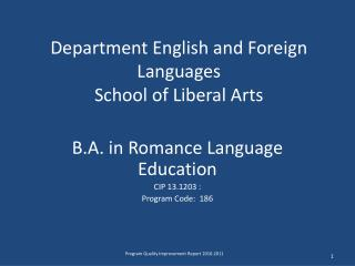 Department English and Foreign Languages School of Liberal Arts