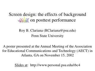Screen design: the effects of background color on posttest performance