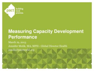 Measurin g Capacity Development Performance
