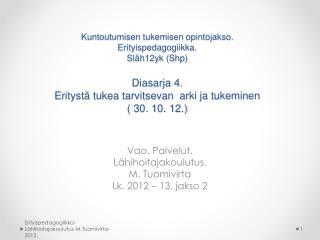 Vao. Palvelut. Lähihoitajakoulutus. M. Tuomivirta Lk. 2012 – 13. jakso 2