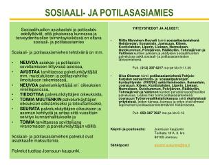 SOSIAALI- JA POTILASASIAMIES