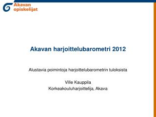 Akavan harjoittelubarometri 2012