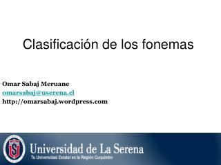 Clasificación de los fonemas
