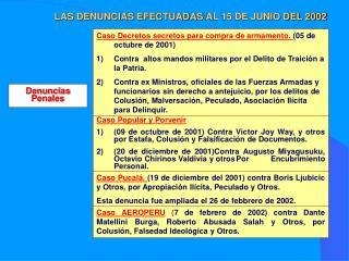 LAS DENUNCIAS EFECTUADAS  AL 15 DE JUNIO DEL 2002