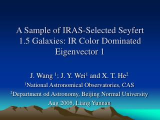 A Sample of IRAS-Selected Seyfert 1.5 Galaxies: IR Color Dominated Eigenvector 1