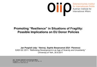 Promoting  �Resilience� in Situations of Fragility: Possible Implications on EU Donor Policies