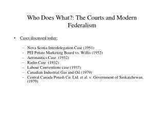 Who Does What?: The Courts and Modern Federalism