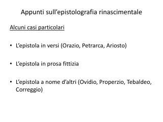 Appunti sull'epistolografia rinascimentale
