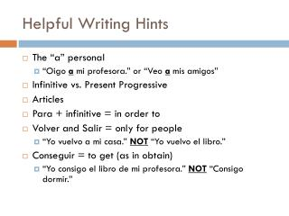 Helpful Writing Hints