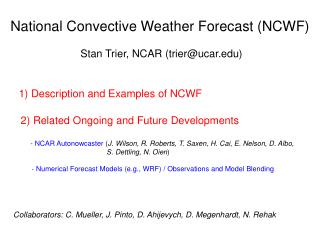 National Convective Weather Forecast (NCWF)